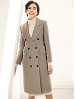 cheap -Baoyan Women's Daily Casual Winter CoatHoundstooth V Neck Long Sleeve Long Acrylic