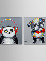 cheap -Hand-Painted Animals Square, Comtemporary Modern Canvas Oil Painting Home Decoration Two Panels