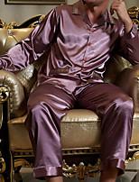 abordables -Costumes Pyjamas Homme,Couleur Pleine Opaque Polyester Bleu Gris Violet