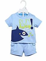Недорогие -малыш Мальчики Набор одежды Повседневные Хлопок Однотонный Лето Короткие рукава На каждый день Светло-синий