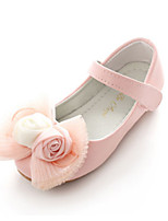 cheap -Girls' Shoes PU Spring Fall Flower Girl Shoes Novelty Comfort Flats Bowknot Appliques Magic Tape for Wedding Party & Evening White Pink