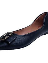 baratos -Mulheres Sapatos Couro Ecológico Primavera Outono Conforto Rasos Sem Salto para Casual Branco Preto Rosa claro Amêndoa