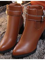 baratos -Feminino Sapatos Couro Ecológico Inverno Outono Conforto Curta/Ankle Botas Salto Robusto para Casual Preto Cinzento Castanho Claro