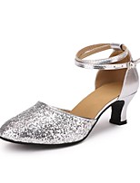 "cheap -Women's Modern Paillette Leatherette Heel Indoor Paillette Customized Heel Silver 2"" - 2 3/4"" Customizable"