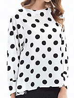cheap -Women's Daily Casual Spring Fall T-shirt,Polka Dot Round Neck Long Sleeve Cotton Opaque