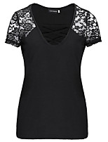 cheap -Women's Going out Street chic T-shirt,Solid V Neck Short Sleeve Polyester