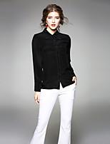 cheap -EWUS Women's Work Sexy Street chic Spring Summer ShirtSolid Shirt Collar Long Sleeve Silk Medium