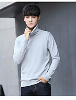 cheap -Men's Casual/Daily Regular Pullover,Solid Turtleneck Long Sleeve Cashmere Winter Thick strenchy