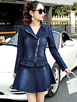 cheap -Women's Daily Casual Fall Shirt Skirt Suits,Solid Shirt Collar Long Sleeve Pure Color Cotton Micro-elastic