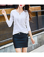 cheap -Women's Daily Casual Spring Fall T-shirt,Solid V Neck Long Sleeve Polyester Opaque