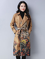 cheap -Women's Daily Casual Fall Trench Coat,Floral Print V Neck Long Sleeve Regular Polyester