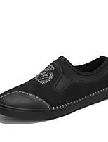 Недорогие -Муж. обувь Натуральная кожа Кожа Полиуретан Весна Лето Удобная обувь Светодиодные подошвы Мокасины и Свитер для Повседневные Черный Серый