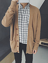 cheap -Men's Daily Solid Color V Neck Cardigan, Long Sleeves Spring Polyester