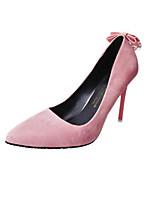 preiswerte -Damen Schuhe Vlies Frühling Herbst Pumps High Heels Stöckelabsatz Spitze Zehe Schleife für Normal Grau Rot Rosa