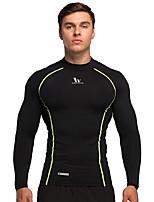 economico -Per uomo T-shirt da corsa Manica lunga Anti-scivolo Top per Corsa Cotone Taglia piccola Arancione Blu scuro Grigio scuro M L