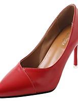 preiswerte -Damen Schuhe Gummi Frühling Herbst Komfort High Heels Niedriger Heel Spitze Zehe für Schwarz Beige Rot