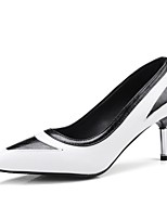 abordables -Mujer Zapatos Semicuero Primavera Otoño Innovador Pump Básico Tacones Tacón Stiletto Dedo Puntiagudo para Boda Fiesta y Noche Blanco Negro