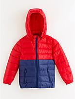 Недорогие -Девочки На пуховой / хлопковой подкладке Однотонный Зима Синий Красный Лиловый