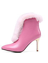 cheap -Women's Shoes Nappa Leather Cowhide Winter Fall Comfort Fashion Boots Boots Stiletto Heel Booties/Ankle Boots for Casual Black Pink