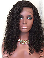 cheap -Human Hair Lace Wig Curly Water Wave Glueless Lace Front African American Wig Side Part Natural Hairline 150% Density Natural Black