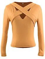Недорогие -Для женщин Праздники На выход Осень Футболка V-образный вырез,Секси Однотонный Длинные рукава,Хлопок,Тонкая