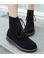 cheap -Women's Shoes Nubuck leather Winter Fall Comfort Combat Boots Boots Block Heel Booties/Ankle Boots for Casual Black Fuchsia