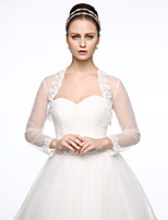 cheap -Long Sleeves Lace Tulle Wedding Party / Evening Women's Wrap With Applique Lace Shrugs
