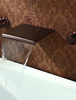 cheap -Antique Widespread Waterfall Brass Valve Two Handles Three Holes Oil-rubbed Bronze , Bathroom Sink Faucet