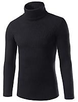 preiswerte -Herren Standard Pullover-Ausgehen Solide Rollkragen Langarm Polyester Winter Herbst Dick Mikro-elastisch