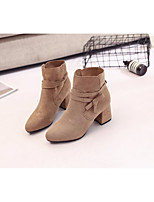 cheap -Women's Shoes Nubuck leather Winter Fall Comfort Bootie Boots Chunky Heel for Casual Khaki Black