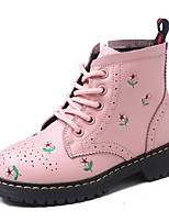 cheap -Girls' Shoes Cowhide Winter Fall Comfort Fashion Boots Boots Booties/Ankle Boots for Casual Pink Black