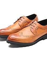 Недорогие -Муж. обувь Кожа Весна Осень Удобная обувь Туфли на шнуровке для Свадьба Повседневные Черный Серый Коричневый