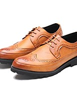 baratos -Homens sapatos Couro Primavera Outono Conforto Oxfords para Casamento Casual Preto Cinzento Marron