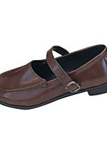 preiswerte -Damen Schuhe PU Frühling Sommer Komfort Outdoor Niedriger Heel Runde Zehe für Normal Schwarz Dunkelbraun
