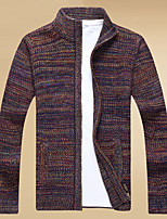 cheap -Men's Daily Casual Print Stand Cardigan, Long Sleeves Winter Polyester
