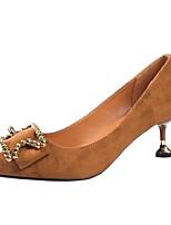 Недорогие -Для женщин Обувь Полиуретан Зима Осень Удобная обувь Обувь на каблуках Высокий каблук Заостренный носок для Повседневные Черный Коричневый