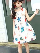 cheap -Girl's Daily Print Dress,Polyester Summer Sleeveless Lolita White