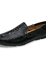 cheap -Men's Shoes PU Leather Spring Fall Moccasin Comfort Loafers & Slip-Ons for Casual Black White