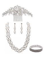 preiswerte -Damen Haarkämme Braut-Schmuck-Sets Strass Europäisch Modisch Hochzeit Party Künstliche Perle Diamantimitate Aleación Blume Traumfänger