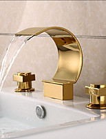 cheap -Contemporary Widespread Waterfall Brass Valve Two Handles Three Holes Ti-PVD, Bathroom Sink Faucet