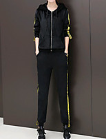 cheap -Women's Casual/Daily Simple Winter Fall Hoodie Pant Suits,Solid Hooded Long Sleeves Cotton