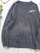 Недорогие -Для мужчин Повседневные Винтаж Обычный Пуловер Однотонный,Круглый вырез Длинный рукав Полиэстер Зима Плотная strenchy