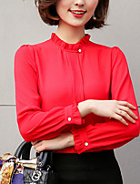 Недорогие -Для женщин Повседневные Осень Блуза Круглый вырез,На каждый день Однотонный Длинные рукава,Хлопок