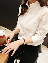 Недорогие -Для женщин Повседневные Весна Осень Рубашка Круглый вырез,На каждый день Однотонный Длинные рукава,Полиэстер,Плотная