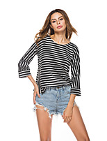 cheap -Women's Daily Holiday Casual Street chic Spring Fall T-shirt,Striped Round Neck ¾ Sleeve Polyester
