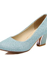 cheap -Women's Shoes Glitter Spring Fall Comfort Heels High Heel Round Toe for Wedding Office & Career Almond Blue Silver
