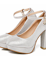 cheap -Women's Shoes PU Spring Fall Comfort Heels Chunky Heel for Casual Silver