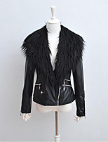 cheap -Women's Daily Casual Winter Spring Fur Coat,Solid Shirt Collar Long Sleeve Short PU