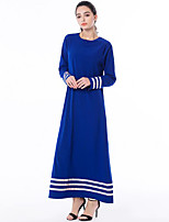 cheap -Women's Daily Casual Abaya Jalabiyah Dress,Solid Round Neck Maxi Long Sleeve Polyester All Season Mid Rise Inelastic Thick