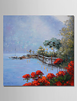 cheap -Hand-Painted Landscape Square, Comtemporary Simple Modern Canvas Oil Painting Home Decoration One Panel
